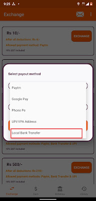 select payout method as Bank transfer