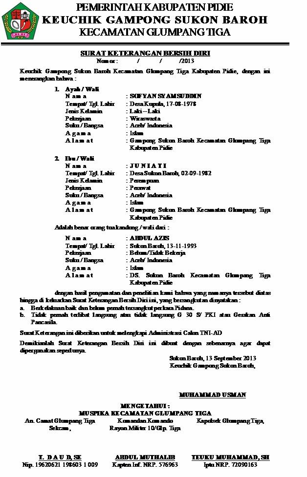 Contoh Surat Pernyataan Warga Rt - Contoh O