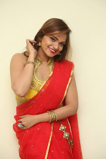 Actress Ashwini Po Shoot Stills In Red Saree With Golden Choli (19).jpg