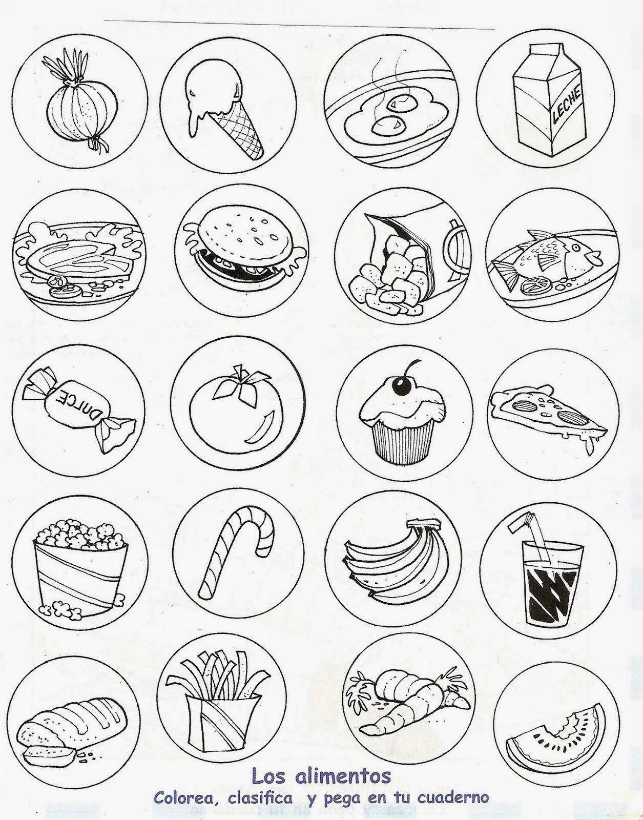 Dibujos Para Colorear De Alimentos