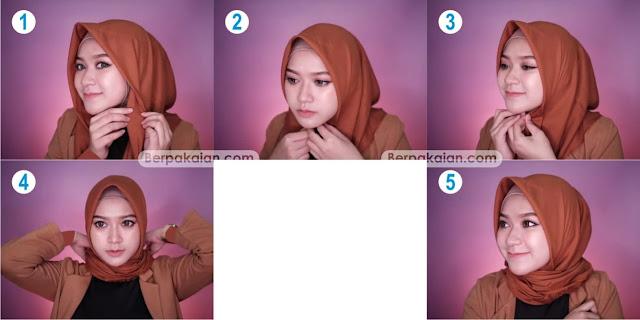 Style Pertama Tutorial Hijab Segi Empat pada saat Terburu-buru Simple dan Modis