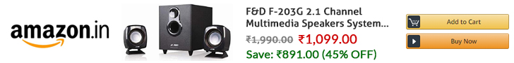 F&D F-203G 2.1 Channel Multimedia Speakers System (Black)