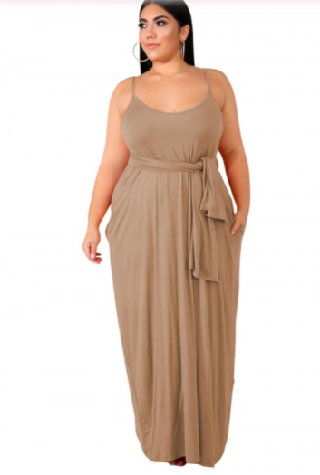 Khakhi maxi dress for plus size women