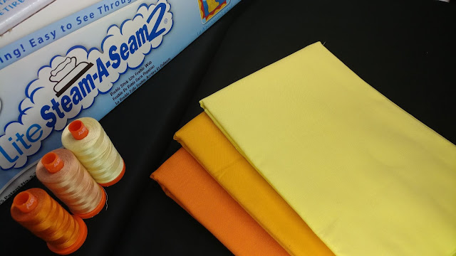 Kona fabrics, Aurifil threads, and Lite Steam-A-Seam 2