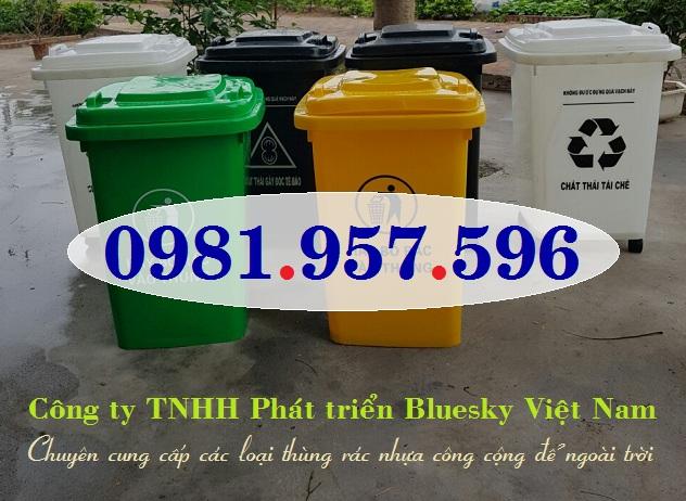 Thùng rác nhựa HDPE nguyên sinh 60L, thùng rác nhựa ngoài trời