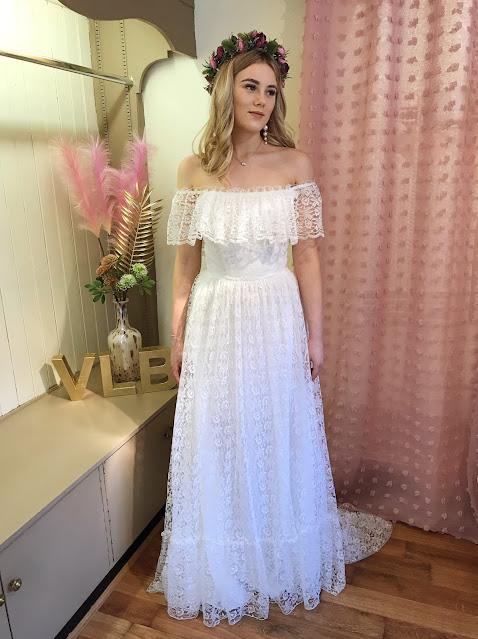 Off the shoulder boho wedding dress