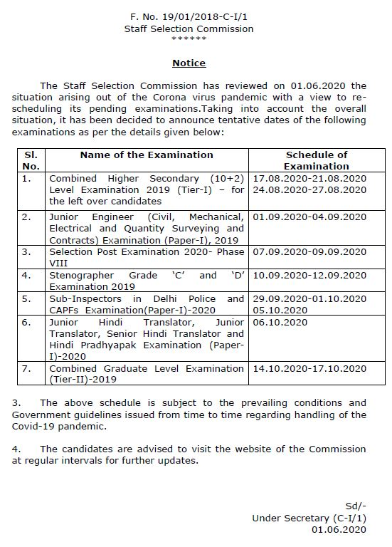 Exam date of Postal Assistant / Sorting Assistant Exam 2019 has been declared by SSC