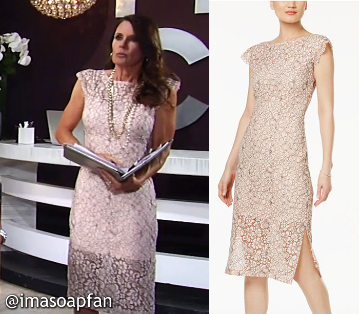 Lucy Coe, Lynn Herring, Blush Pink Illusion Lace Sheath Dress, Jessica Simpson, GH, General Hospital