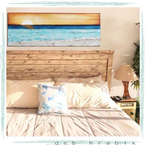 Pallet Wood Sunset Ocean Painting
