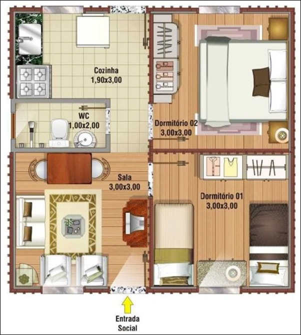 casa 2 quartos grandes