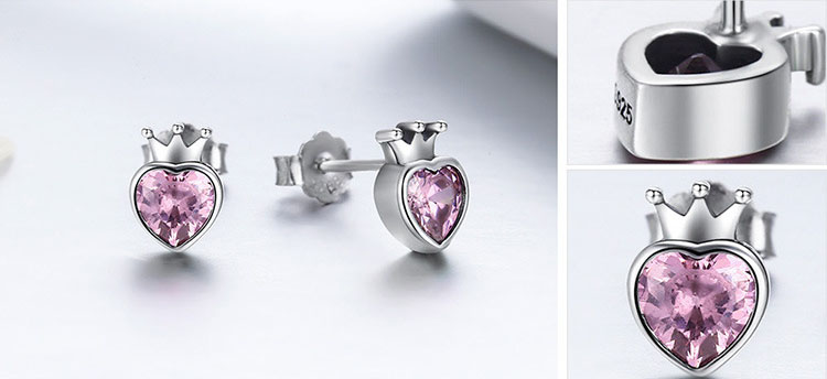 甜美粉紅鋯石王冠 925純銀耳環