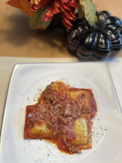 Sausage ravioli paired with Cotes du Rhone