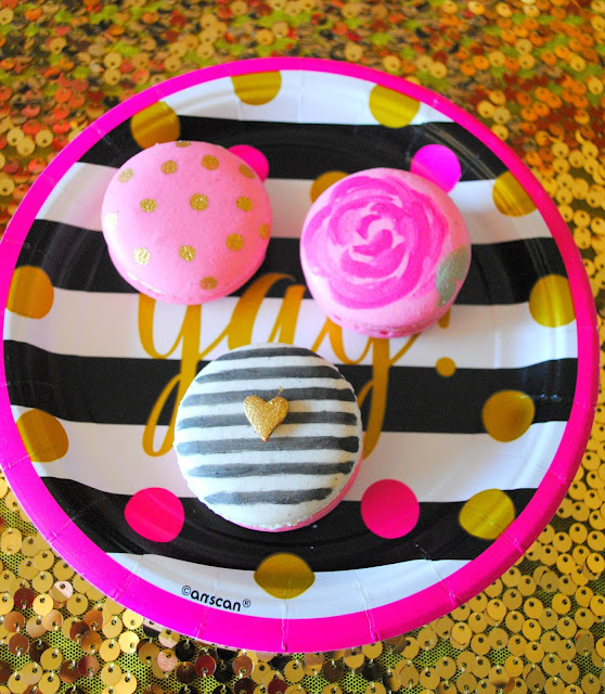 Kate Spade inspired macarons at best friends party. Get inspired at FizzyParty.com
