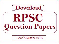image: RPSC Assistant Professor Question Papers @ TeachMatters