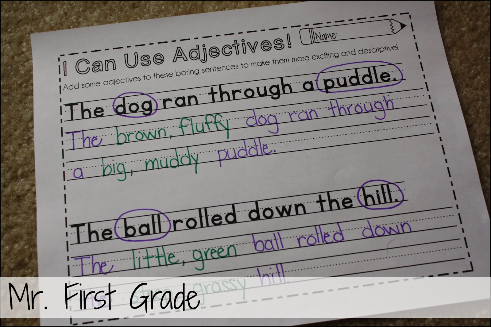 Mr First Grade Mentor Sentences