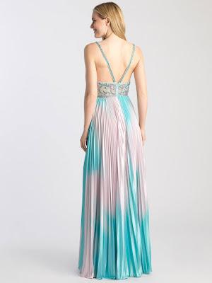 V-neck prom dress Madison James Turquoise/Multi color back side