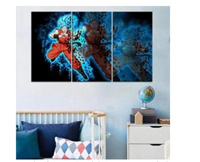 cuadro 3 piezas de goku blue