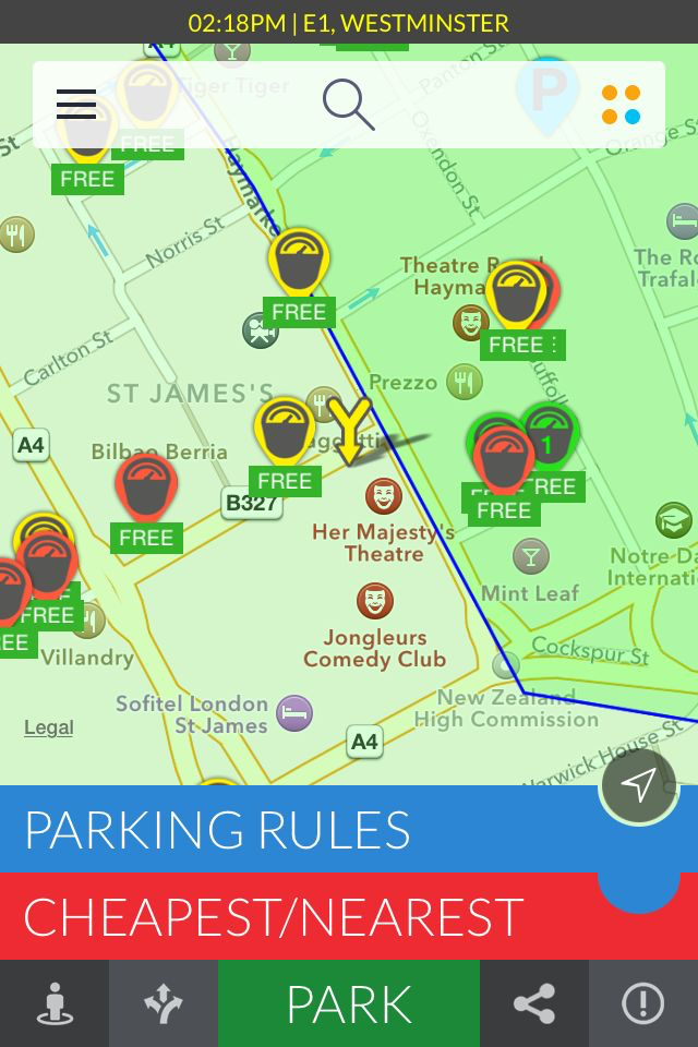 AppyParking directs drivers to free parking spots using