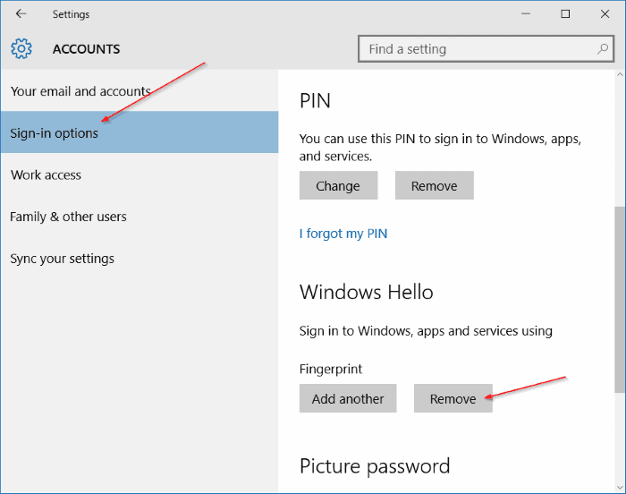 Use fingerprint to sign in to Windows 10 11 thumb