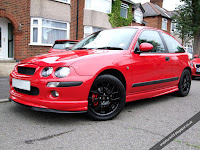 MG Rover 25 1.4 Front Corner View Solar Red Modified ZR Bodykit Black Wheels