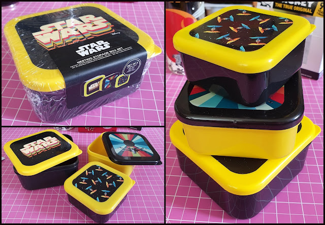 Collage of 3 Star Wars nesting boxes showing lids on and off, stacked and nested together