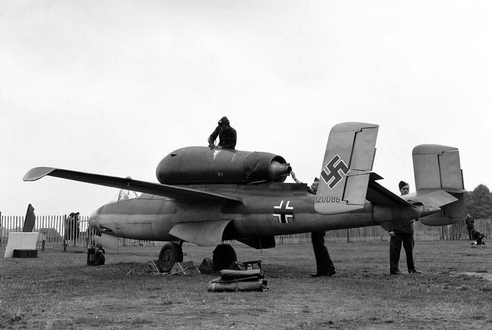 Many of Germany's captured new and experimental aircraft were displayed in an exhibition as part of London's Thanksgiving week on September 14, 1945. Among the aircraft are a number of jet and rocket propelled planes. Here, a side view of the Heinkel He-162