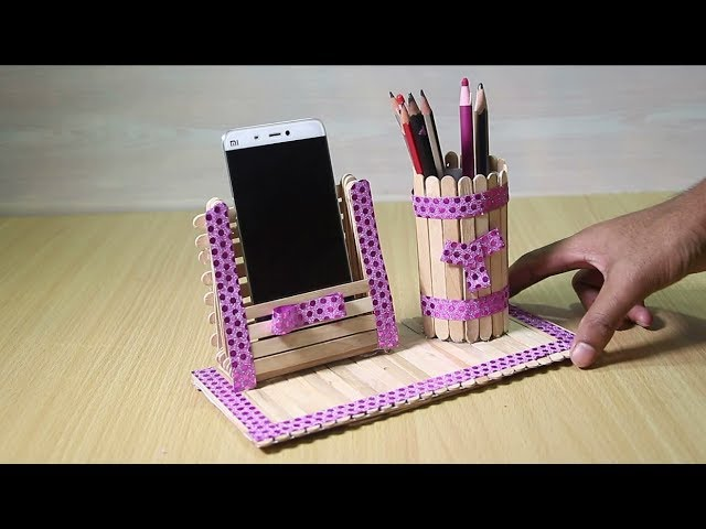 Pen Stand And Mobile Phone Holder With Ice Cream Sticks