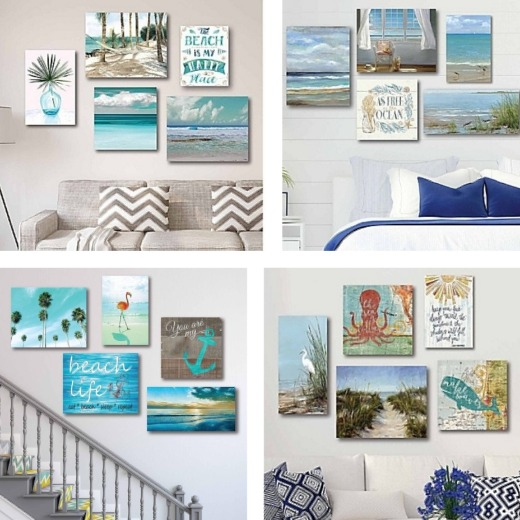 5 Piece Coastal Beach Wall Art Sets