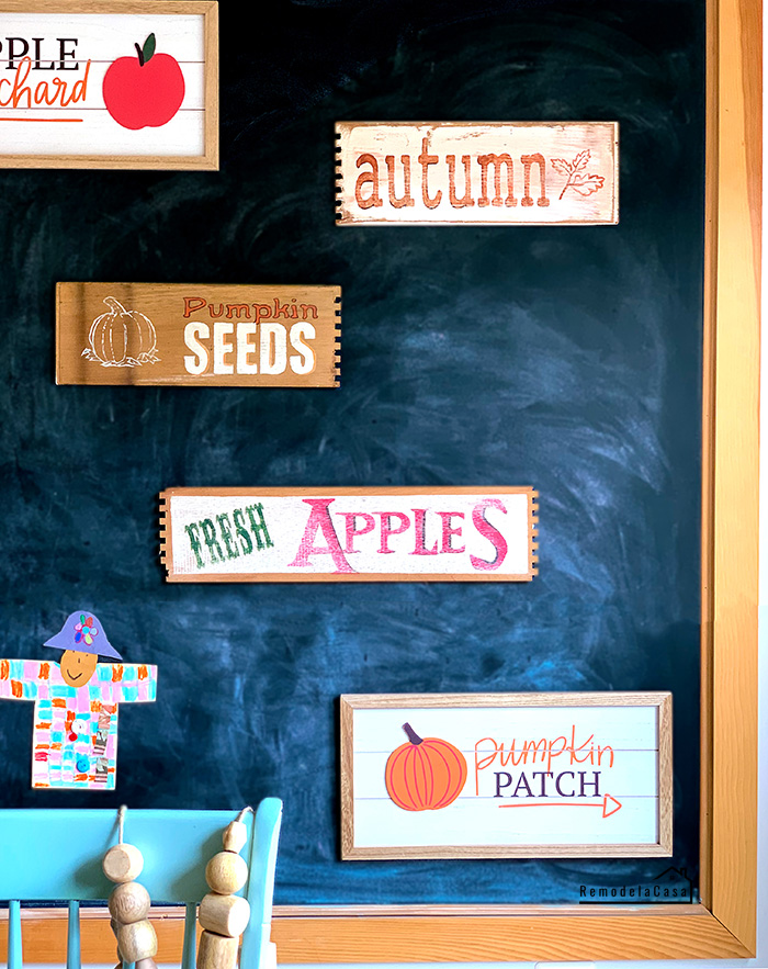 Fall signs on chalkboard
