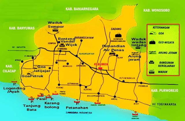 Gambar Peta Wisata Kabupaten Kebumen