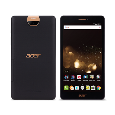 Acer Iconia Talk S Specifications - LAUNCH Announced 2016, August DISPLAY Type IPS LCD capacitive touchscreen, 16M colors Size 7.0 inches Resolution 800 x 1280 pixels (~216 ppi pixel density) Multitouch Yes BODY Dimensions 191.7 x 101 x 9.4 mm (7.55 x 3.98 x 0.37 in) Weight 260 g (9.17 oz) SIM Dual SIM PLATFORM OS Android OS, v6.0 (Marshmallow) CPU Quad-core 1.3 GHz Cortex-A53 Chipset Mediatek MT8735 GPU Mali-T720MP2 MEMORY Card slot microSD, up to 256 GB Internal 32 GB, 2 GB RAM CAMERA Primary 13 MP, autofocus Secondary 2 MP Features Geo-tagging, touch focus, face detection, HDR, panorama Video 1080p@30fps NETWORK Technology GSM / HSPA / LTE 2G bands GSM 850 / 900 / 1800 / 1900 - SIM 1 & SIM 2 3G bands HSDPA 4G bands LTE Speed HSPA, LTE GPRS Yes EDGE Yes COMMS WLAN Wi-Fi 802.11 b/g/n, Wi-Fi Direct, hotspot GPS Yes, with A-GPS USB microUSB v2.0 Radio  Bluetooth v4.0, A2DP FEATURES Sensors Accelerometer, proximity Messaging SMS(threaded view), MMS, Email, Push Mail, IM Browser HTML5 Java No SOUND Alert types Vibration; MP3, WAV ringtones Loudspeaker Yes 3.5mm jack Yes BATTERY  Non-removable Li-Ion 3400 mAh battery Stand-by  Talk time  Music play -  MISC Colors Black  - MP4/H.264 player - MP3/WAV/eAAC+/Flac player - Photo/video editor - Document viewer