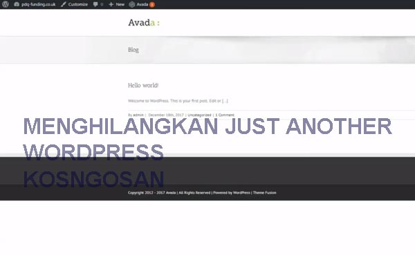 menghilangkan just another wordpress
