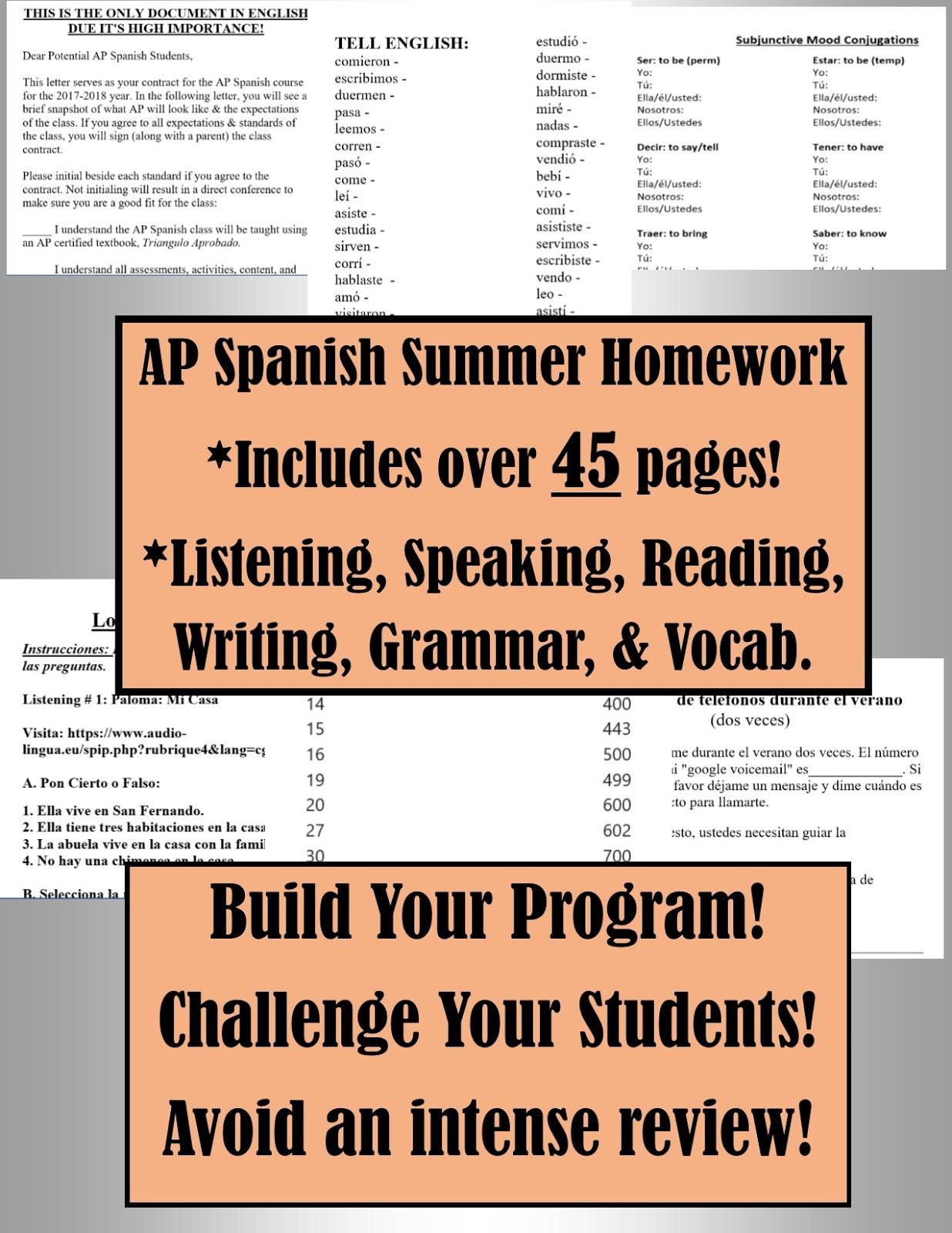 ap summer homework