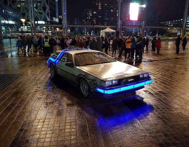 A Back to the Future DeLorean in MediaCityUK