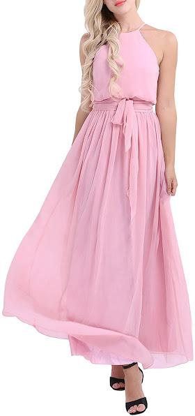 Cute Chiffon Halter Bridesmaid Dresses