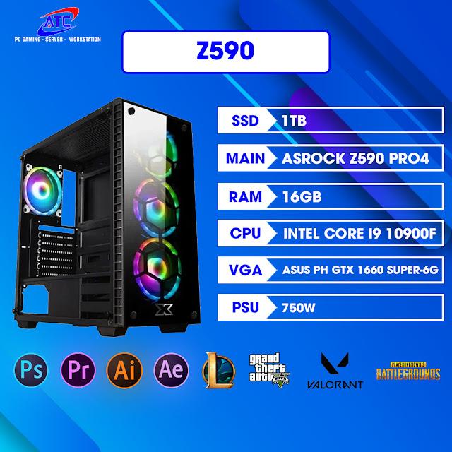 PC Workstation Z590   cpu i9 10900f   Ram 32gb   vga 6gb