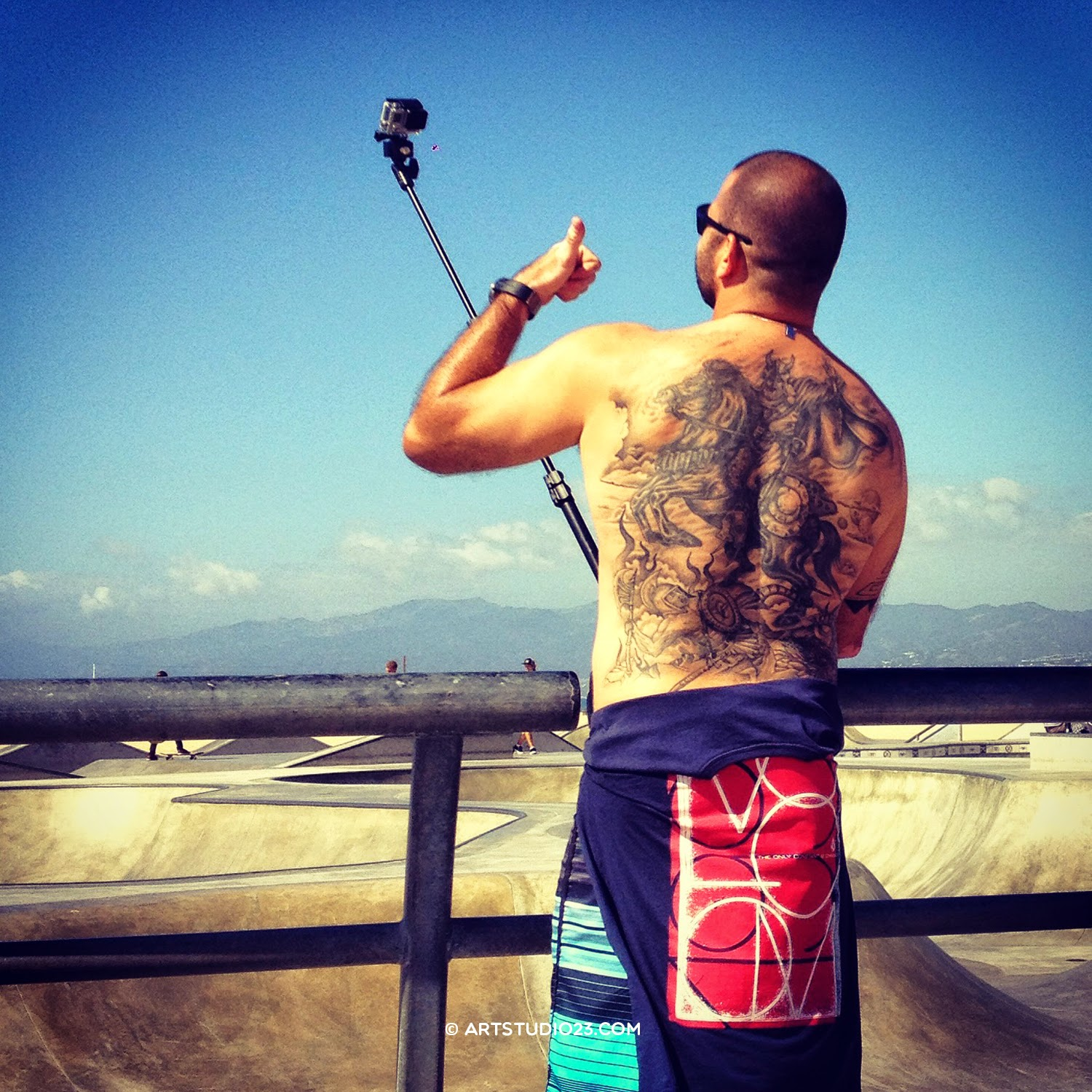 Tattoo back and go pro Los Angeles tourist