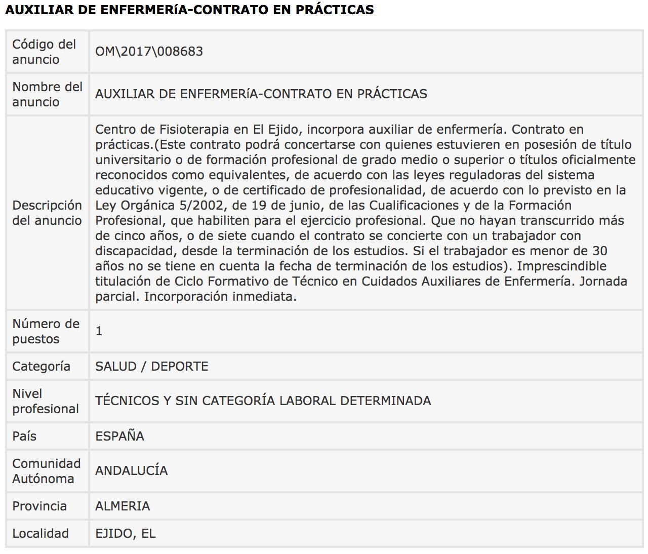 Ofertas de Empleo en España: octubre 2017