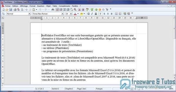 Softmaker freeoffice une suite bureautique alternative freewares tutos - Office traitement de texte ...