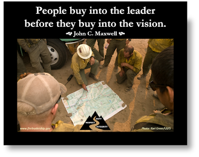 People buy into the leader before they buy into the vision. - John C. Maxwell  [Photo: Kari Greer/USFS] (leader sharing the vision with the crew)