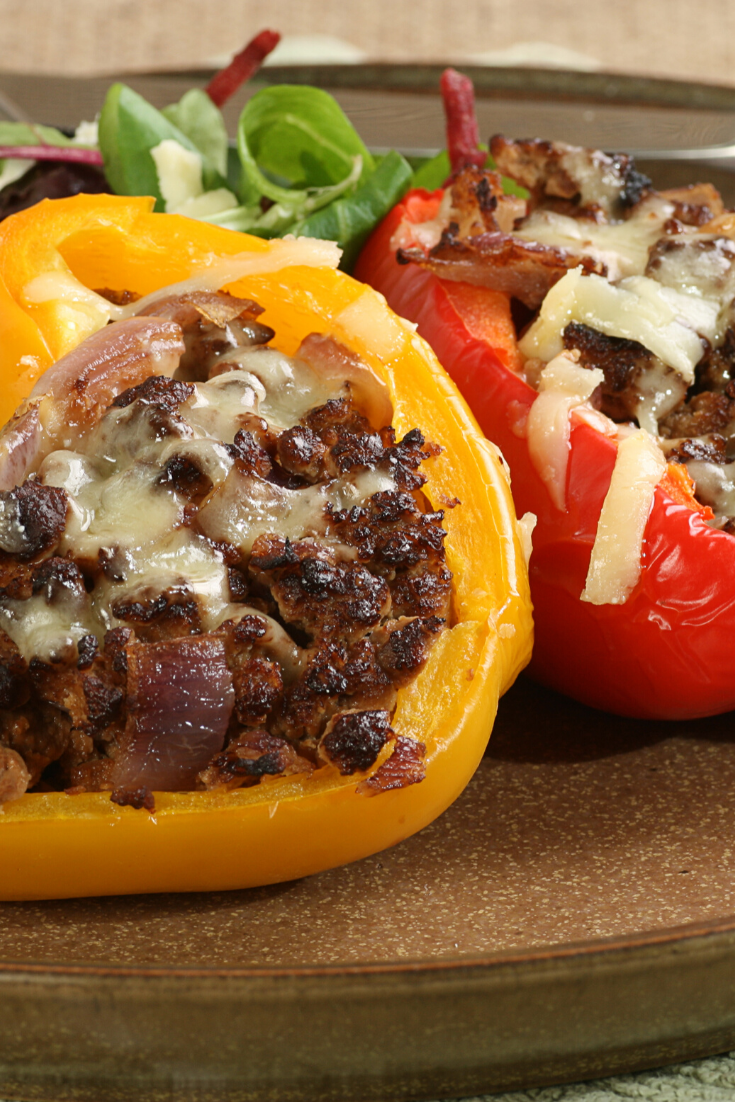 Stuffed Peppers with beef #food #recipes, rice, tomato #sauce, onions and garlic with Italian Seasoning and Parmesan Cheese. | #stuffedpeppers #italian #mealprep #dinner #groundbeef #dinnerthendessert