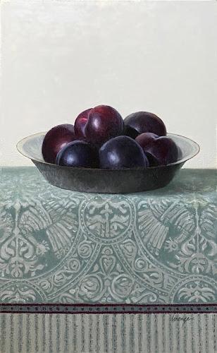plum still life, vintage tea towel