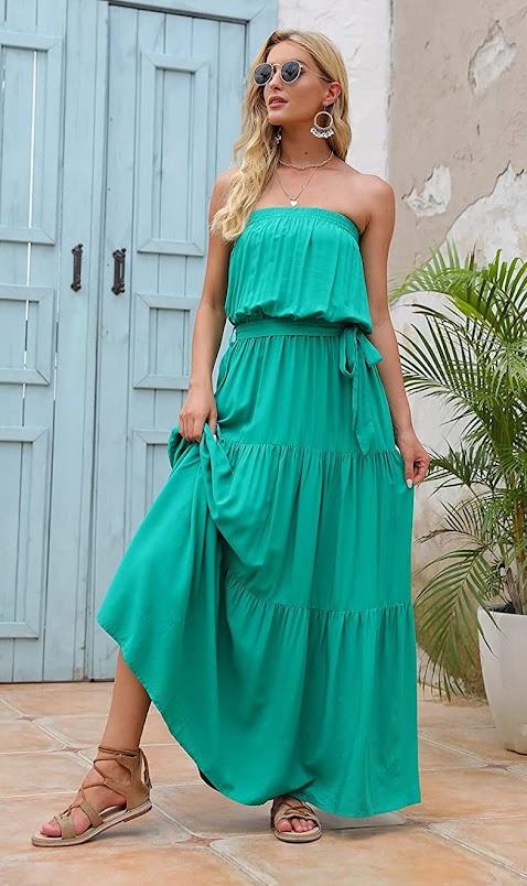 Best Green Strapless Maxi Dresses
