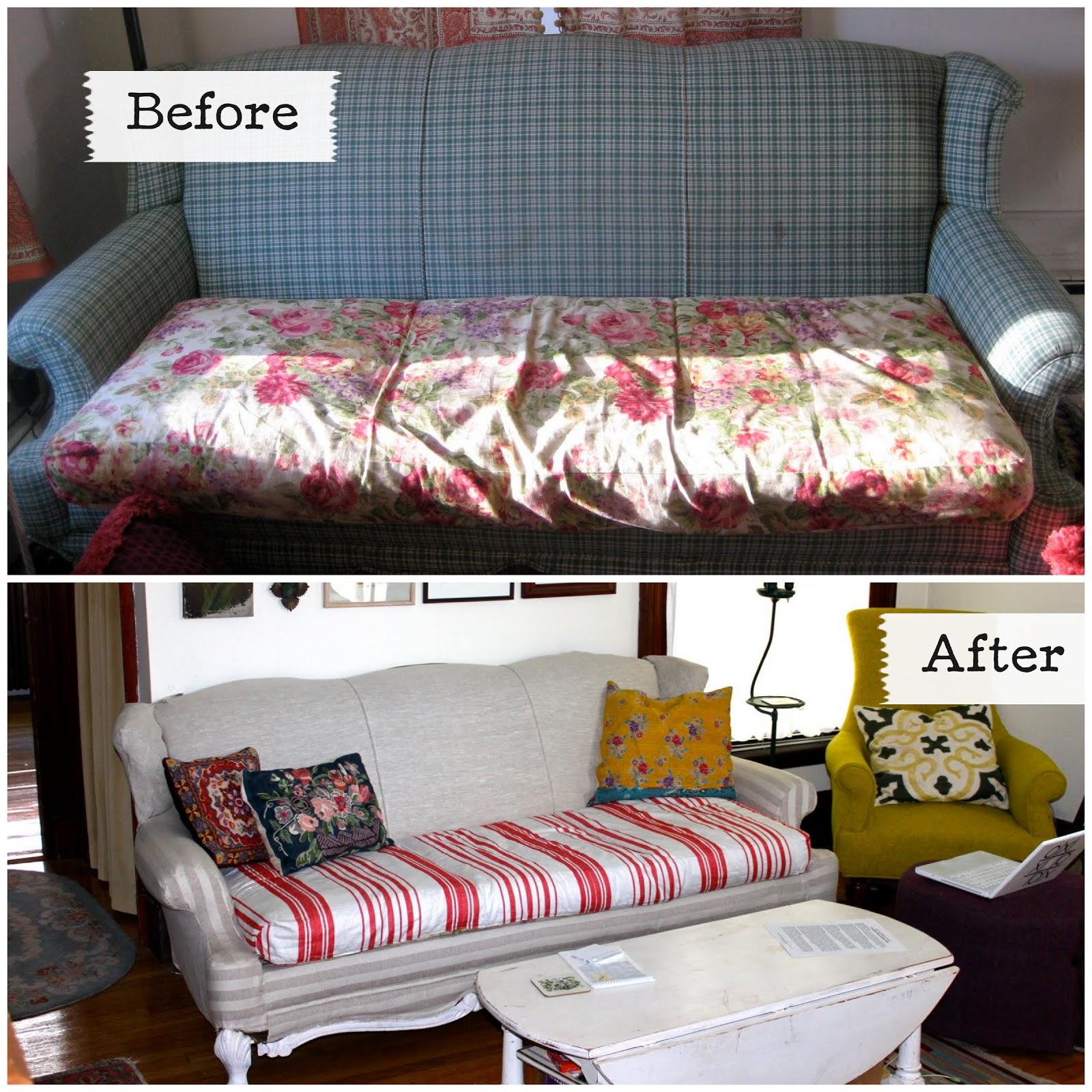 How Much Fabric To Make A Sofa Cover Blue Denim Sleeper Tiptoethrough Diy Upgrade On The Cheap