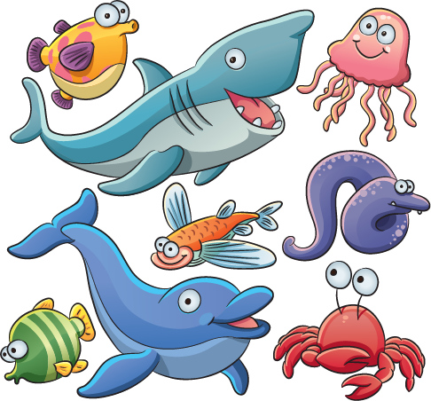 Animales marinos tipo cartoon - vector