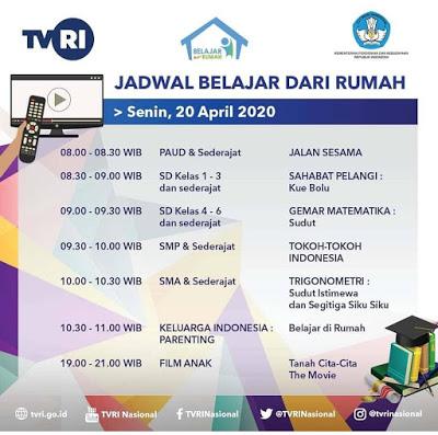 Jadwal dan Materi Belajar Di TVRI Tanggal 20 April