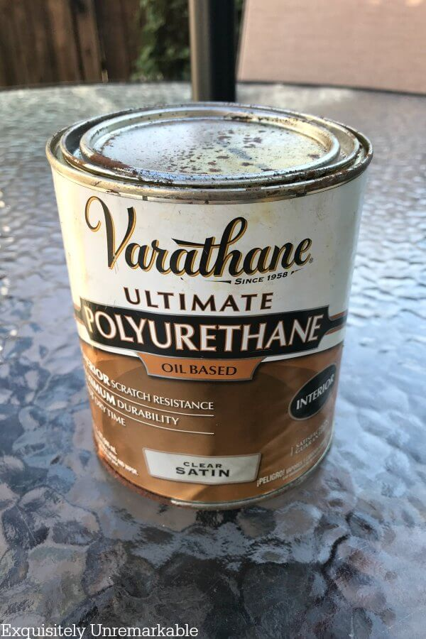 Varathane Oil Based Polyurethane can on outdoor table