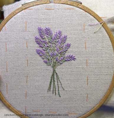 Completed bunch of lavender for front of Lorna Bateman Lavender and Bees Scissors Keeper.