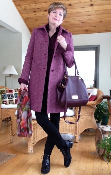 Theory shirt, Max Mara coat, Holt Renfrew cashmere scarf, Vince leggings, Stuart Weitzman boots, Anne Marie Chagnon earrings, Marc Jacobs bag