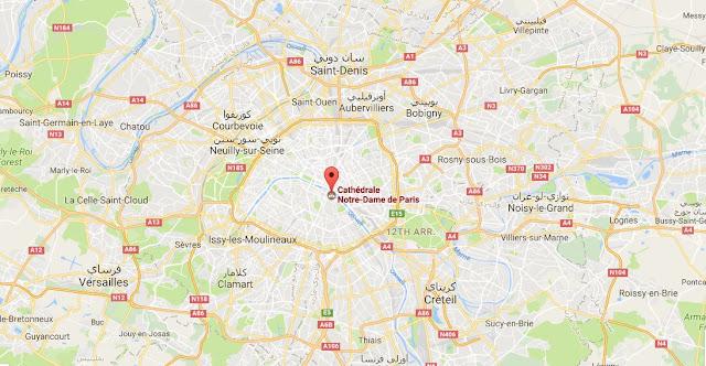 خريطة كاتدرائية نوتردام في باريس - فرنسا Notre Dame de Paris Carte